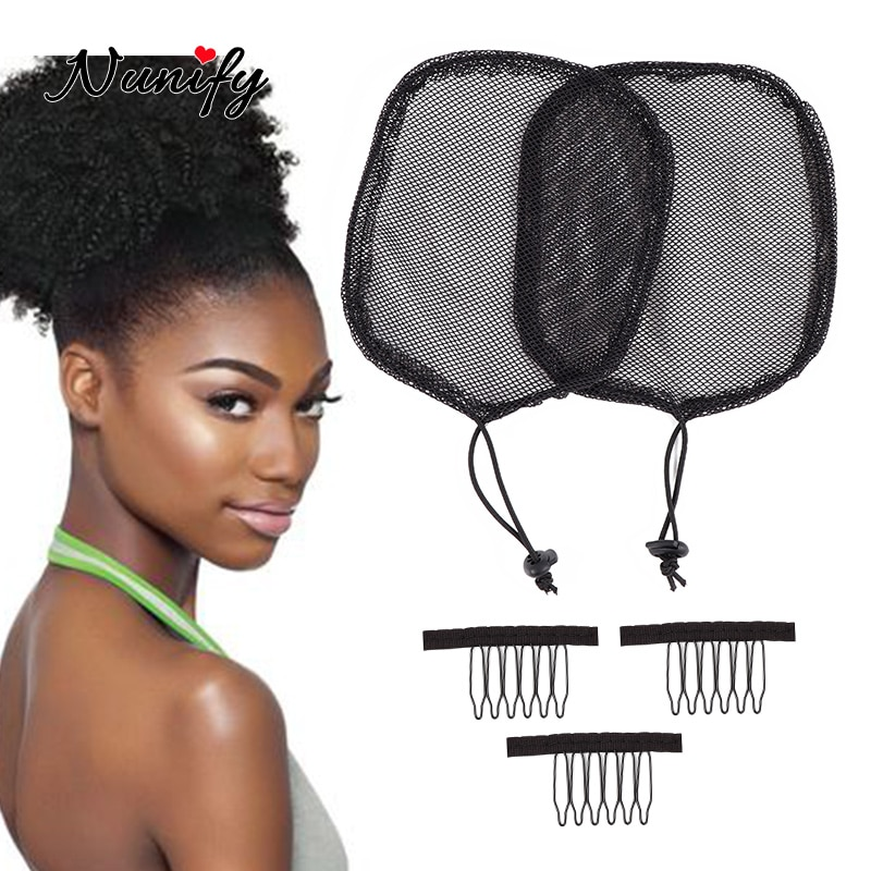 Nunify Good Quality 5Pcs Ponytail Hair Net For Making Ponytail With Adjustable Strap Weaving Wig Caps Poney Tail Wig Maker