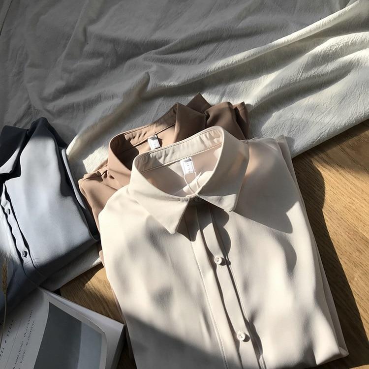 Nueva blusa de chifón clásica para mujer 2020 camisa Coreana de manga larga de Color sólido básica gruesa informal