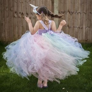 Girls Fluffy Pastel Unicorn Flower Long Tutu Dress Kids Tulle Strap Dress Ball Gown with Hairbow Children Party Costume Dresses