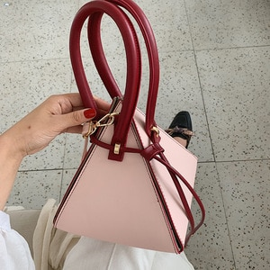 2021 Designer Leather Handbag Mini Triangle Women Clutch Purse Hand Bag Lady Famous Brand Chains Tote Bags Portefeuille Femme