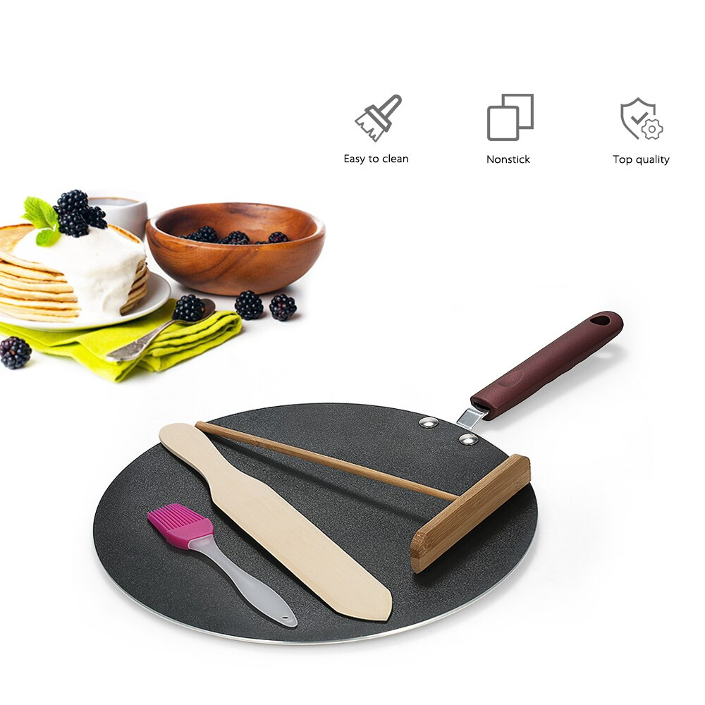 Sartén para pancakes Crepe Maker sartén plana plancha Pan con estabilizador y espátula Crepe Maker plancha