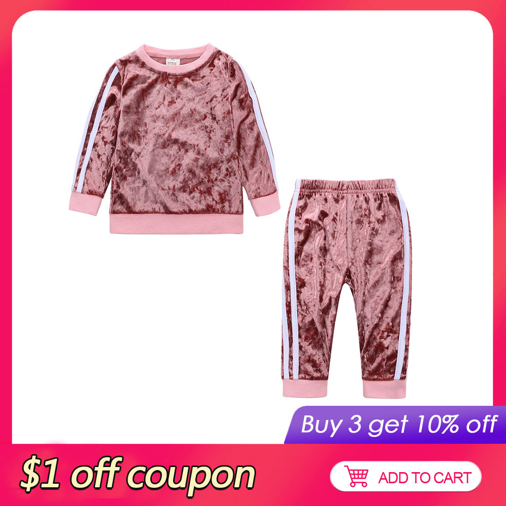 Casual Kids Clothes Girl Outfits Spring Autumn Baby Girl Clothes Sets Gold Velvet Long Sleeve Tops+Pants Children Girls Set