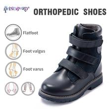 Botas de invierno para niños Princepard, zapatos ortopédicos para niños y niñas con soporte para el tobillo, Espalda alta suela antideslizante de cuero auténtico