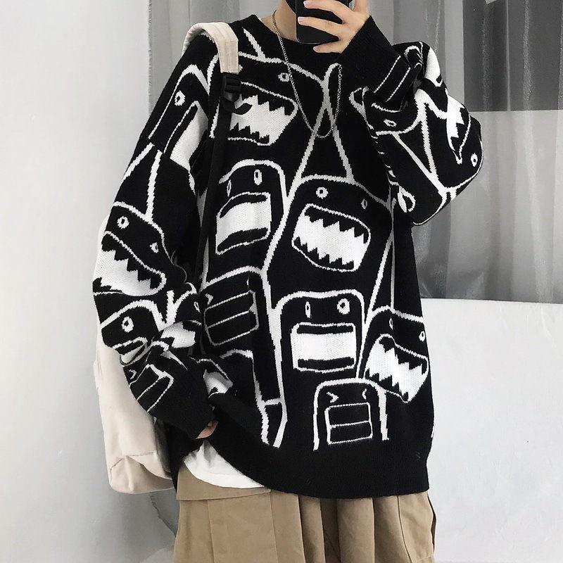 Новинка 2020, свитер для пар, мужская и женская свободная одежда, модная брендовая трикотажная одежда, корейский свитер с мультяшным рисунком ...