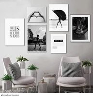 heart hand beauty quotes fashion girl poster black white canvas painting wall art print nordic modern style decoration picture