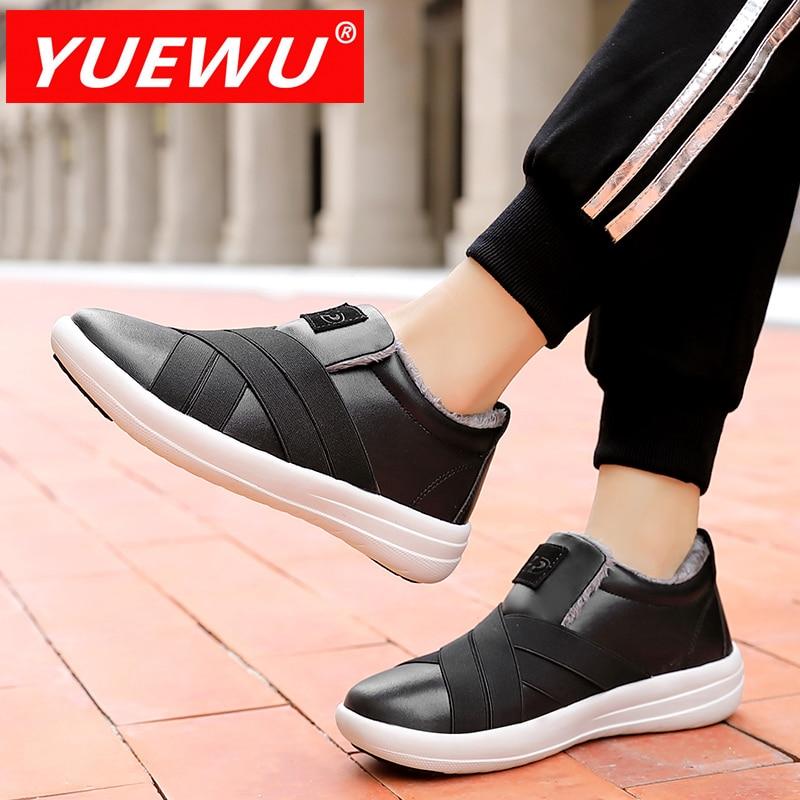 YUEWU Winter Women'S Sneakers Korean Version Sleeve Foot Plush Cotton Padded Shoes Rubber Antiskid
