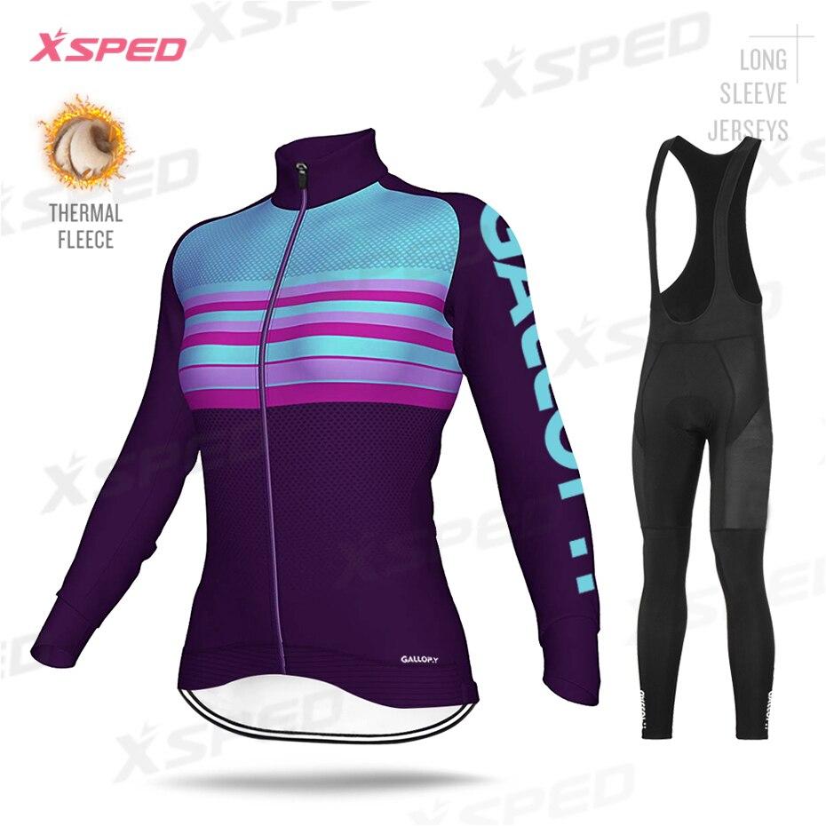 Nueva ropa de Ciclismo de Invierno para mujer, ropa térmica de lana, Jersey de manga larga, moda para mujer, uniforme de bicicleta de carretera, chaqueta caliente al aire libre