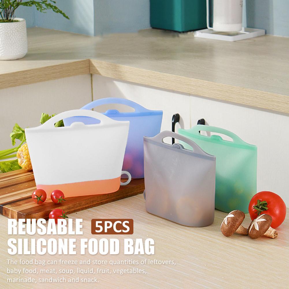 5 шт многоразовая силиконовая сумка для хранения еды набор герметичных сэндвич-сумок для фруктов овощей миска для свежей еды чашка Органайз...