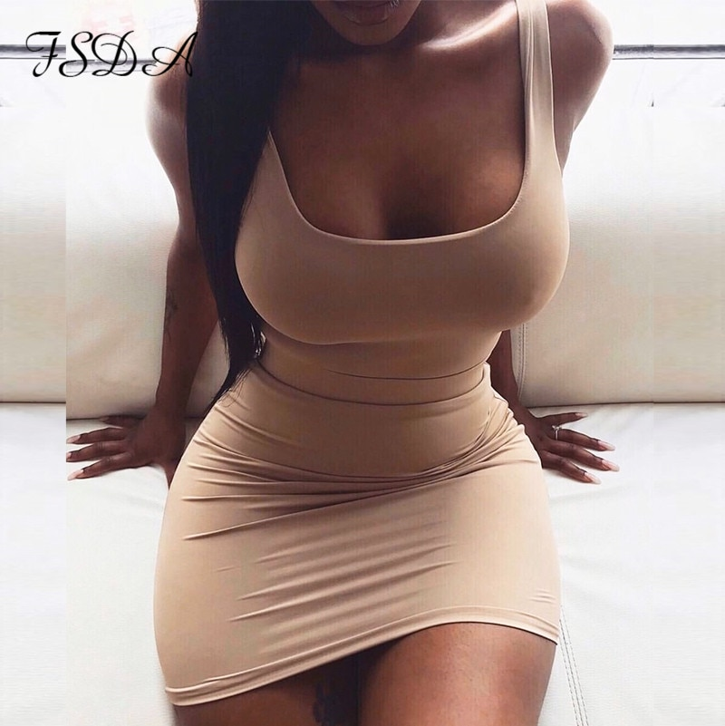 FSDA Square Neck Sleeveless Bodycon Mini Dress Basic Women Summer Black Backless Party  Yellow Clubwear 2020 Dresses