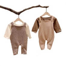 2020 Autumn Newborn Baby Girl Boy Clothes Baby Romper Sleeveless Solid Jumpsuit Cross Back Straps Ov