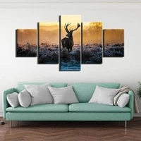 forest deer family poster canvas print minimalist 5 pieces wall art painting decorative picture modern home decor