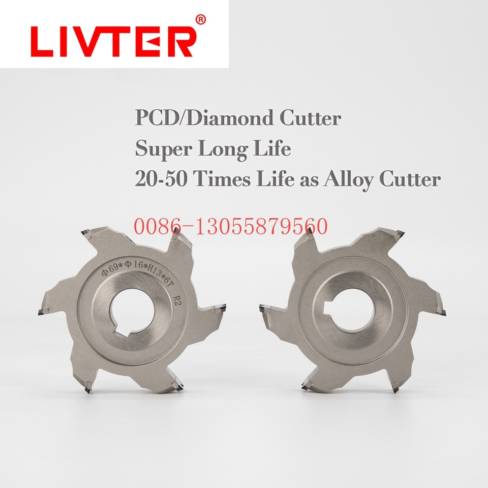 Livter 2pcs PCD Rough Trimming Cutter Diamond Fine Trim Knife 4T 6T Edge Banding Knife For KDT Shunde Edge Banding Machine