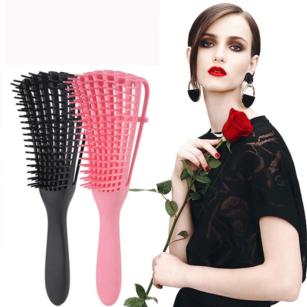 Peine para masaje del pelo de cuero cabelludo, cepillo para el pelo, cerdas para mujeres, mojada, desenredar, peinado de peluquería, peine para el pelo con nudos