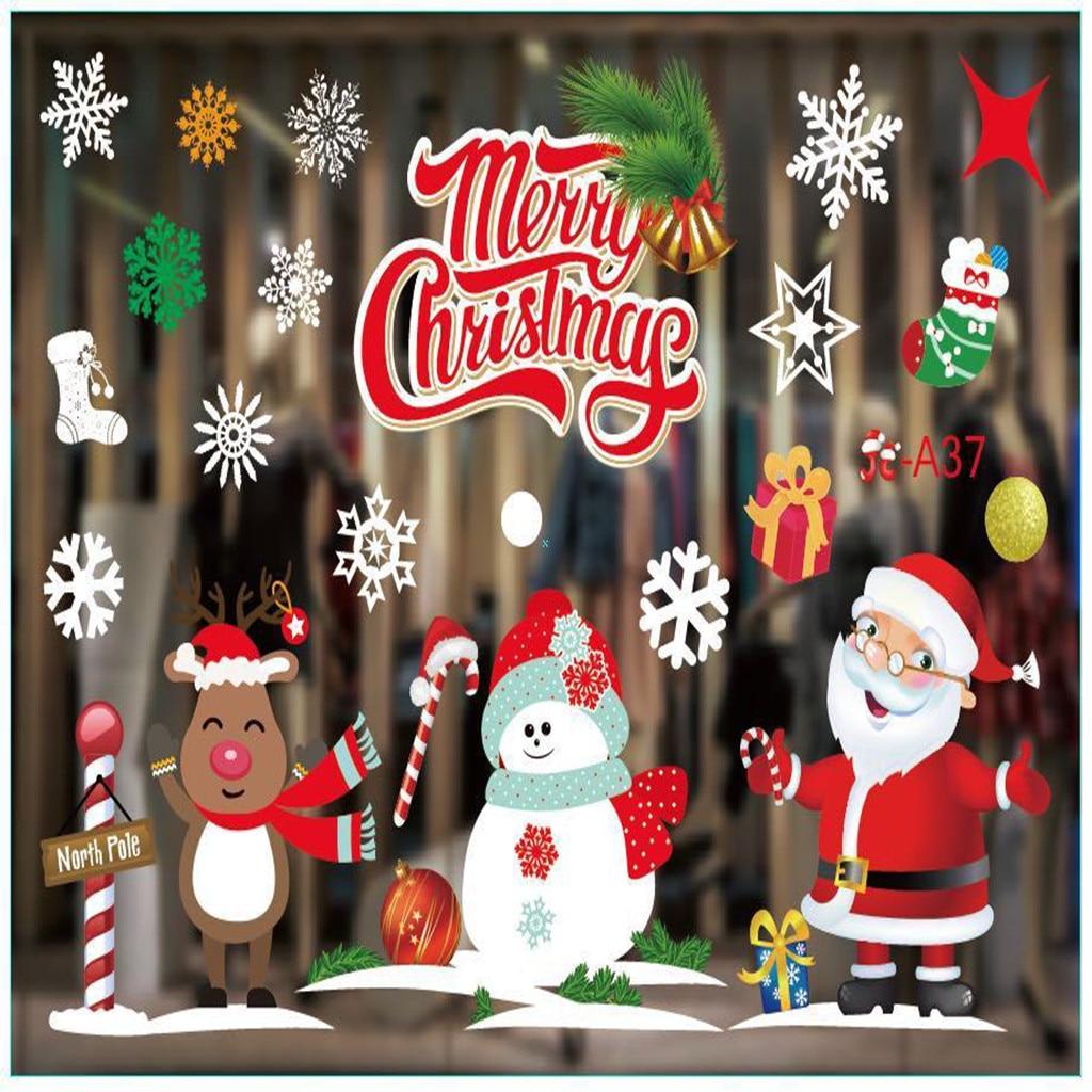 KAKUDER-pegatinas navideñas para puerta, decoración de ventana y vidrio, pegatinas creativas de...