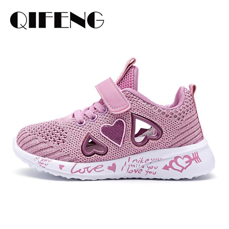 2021 повседневная обувь для девочек, легкие сетчатые кроссовки, Детская летняя модная детская теннисная Милая спортивная женская обувь с мультяшным рисунком, носки для бега Кроссовки    АлиЭкспресс
