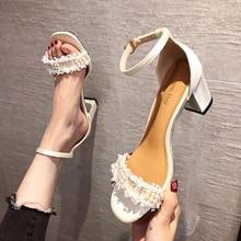 2021 Summer Brand Women Sandals Open Toe Roman Shoes Elegant String Bead Tassel Lady Sandals Ankle B
