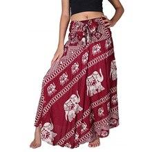 Elephant Print Maxi Skirt Adjustable Wrap Skirts Women Bohemia Summer Long Skirt High Waist Stretch Beach Skirt Female Big Hem