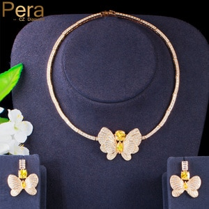 Pera Gorgeous Yellow CZ Crystal Big Butterfly Charm Necklace Earrings Jewelry Sets for Bridal Wedding Accessories Jewelry J431