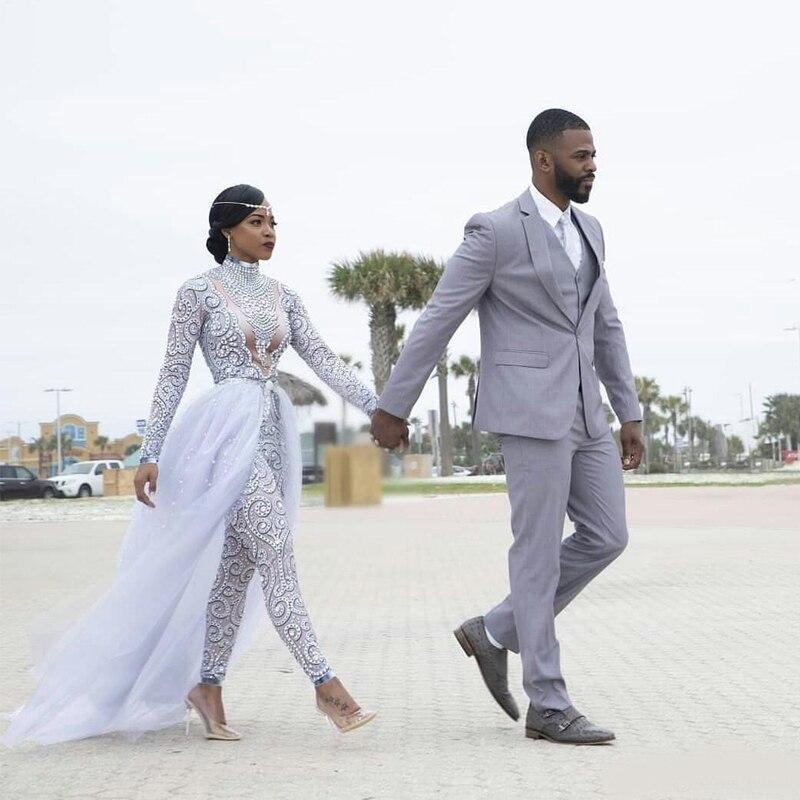 2021 بذلات رائع مع ذيل قابل للانفصال فساتين زفاف رقبة عالية خرز كريستال كم طويل فستان زفاف متواضع افريقي