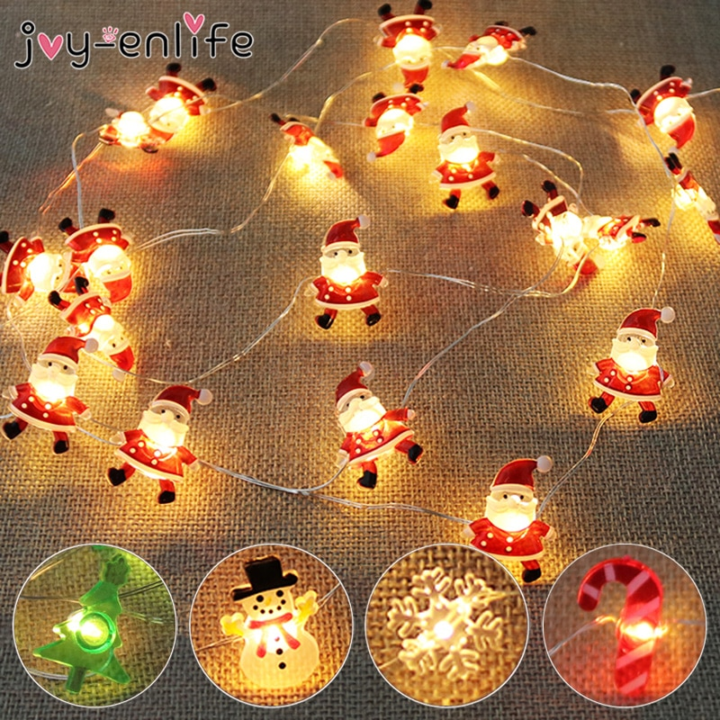 2M 20LED Santa Claus Snowflake Tree LED Light String Christmas Decoration For Home 2020 Christmas Ornament Xmas Gift New Year