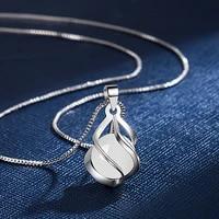 elegant opal pendant necklaces for women girls trendy classic white opal geometric pendant necklace wedding fashion jewelry gift