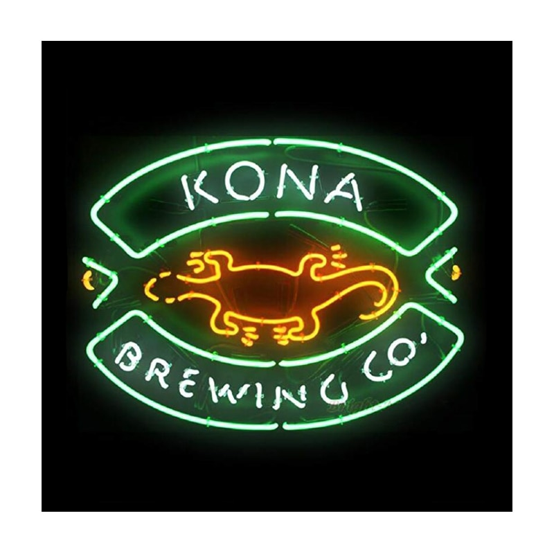 Kona تختمر المشارك أبو بريص مخصص اليدوية أنبوب زجاجي حقيقي مخزن البيرة بار الإعلان الديكور عرض النيون تسجيل ضوء 19