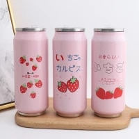 cute strawberry insulated water bottle stainless steel thermos portable wide mouth can cup travel bottle 500ml