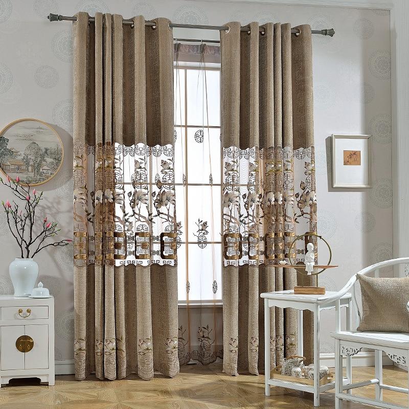 Estilo chinês moderno sombreamento cortinas para sala de estar quarto tecido atacado fabricantes venda direta de volumes de corte zero