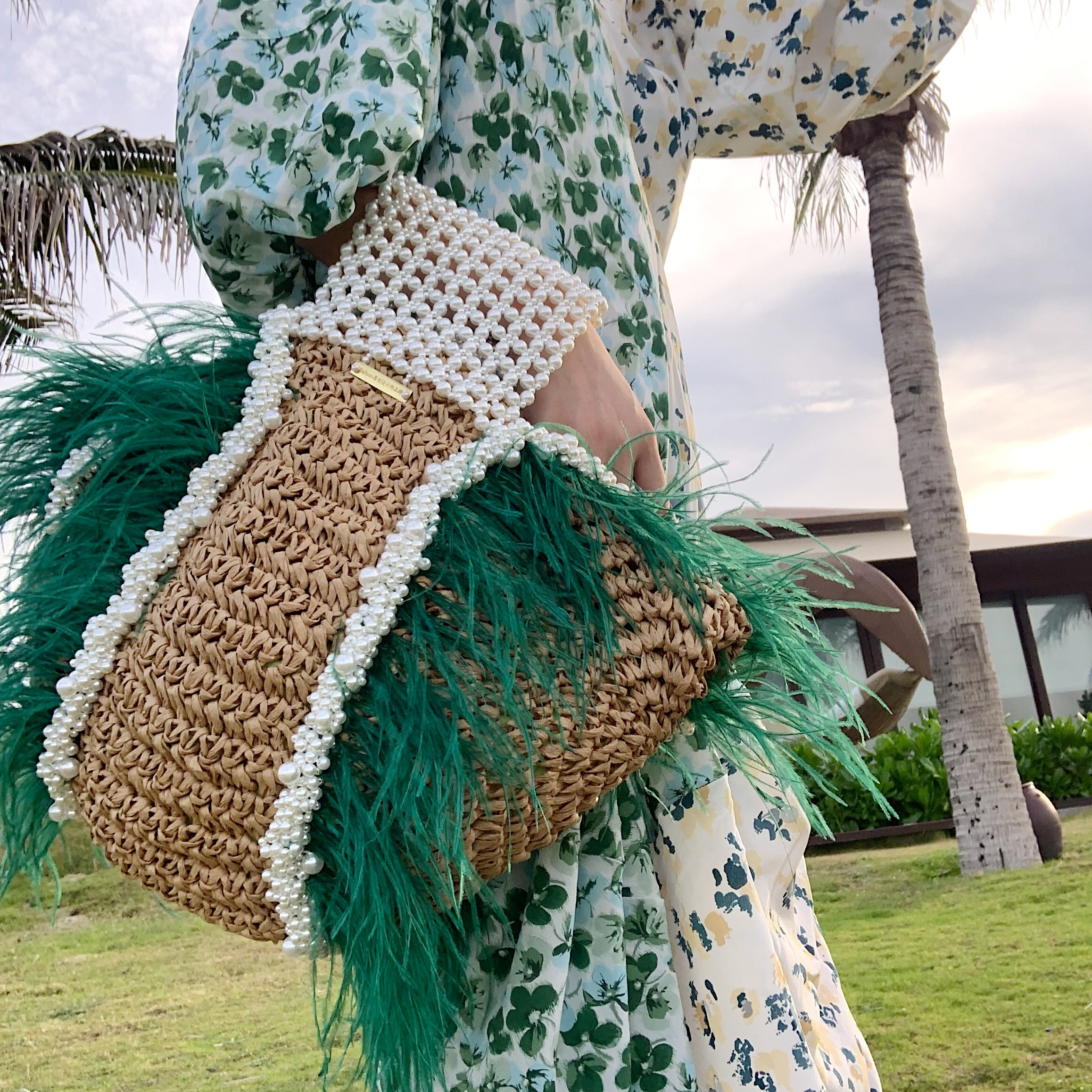 Handmade peacock green ostrich hair pearl natural grass weave bag Summer Beach Bags 2020 New Holiday Women Straw Woven Handbags