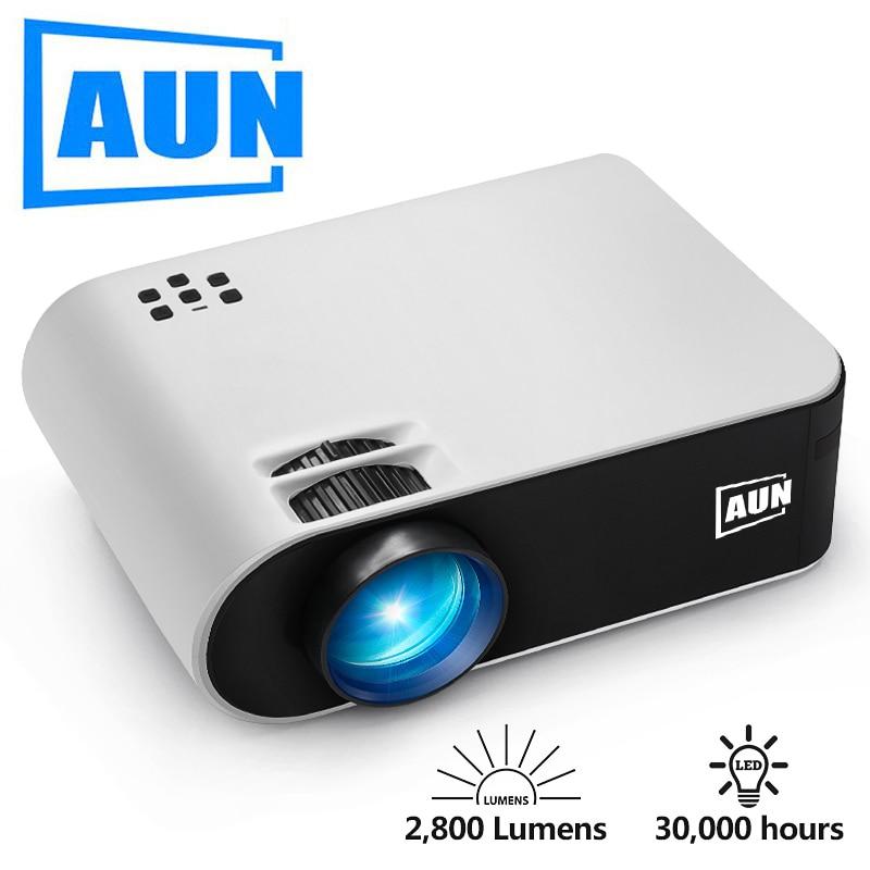 AUN جهاز عرض صغير W18 ، والتسليم المحلي في روسيا. اختياري W18C المزامنة اللاسلكية عرض للهاتف ، جهاز عرض (بروجكتور) ليد ل 1080P فيديو. P
