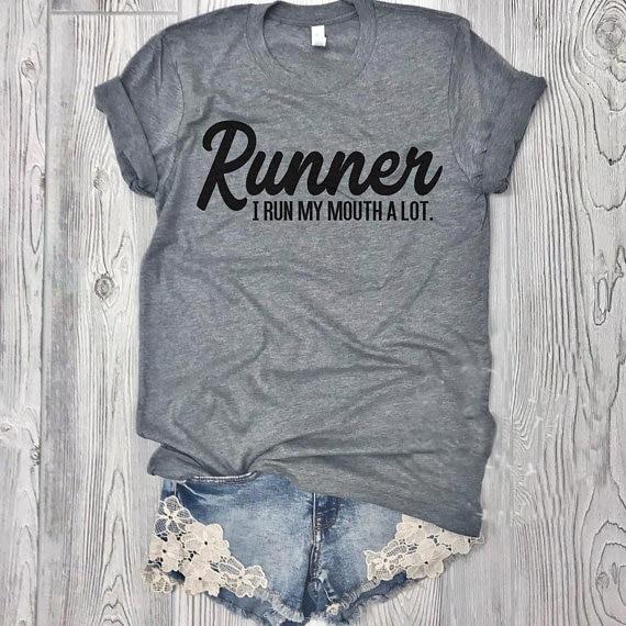 Runner I My Mouth A Lot tumblr tees 90s moda tops mujer namjoon Camiseta cómoda moda camiseta chica top-L089