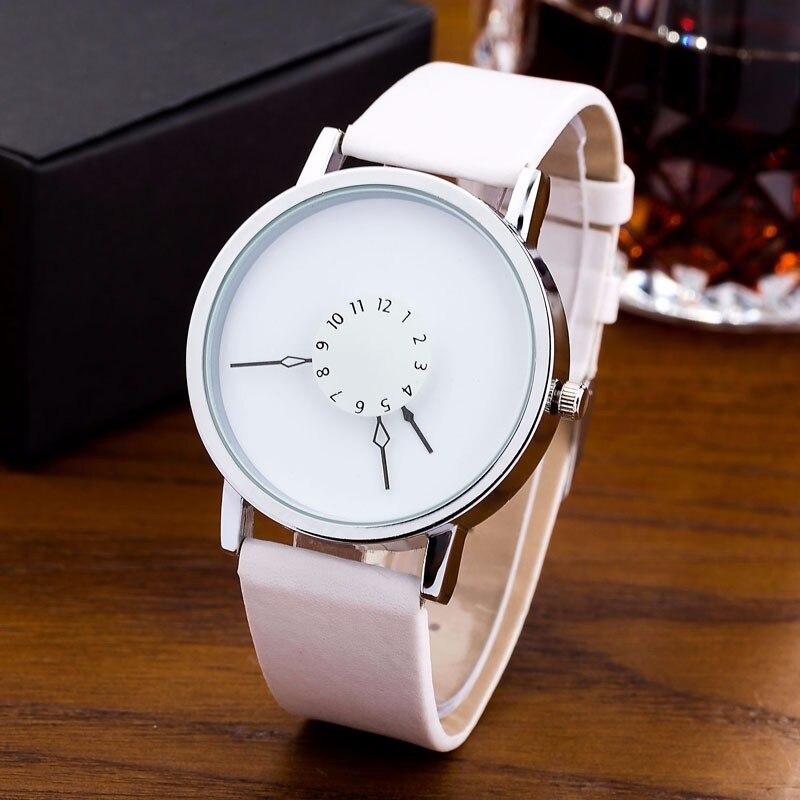 Relojes creativos de mujer a la moda, relojes de pulsera informales para mujer, relojes de cuarzo de piel sintética, relojes redondos para mujer, abcdefghijklmnabc AAA