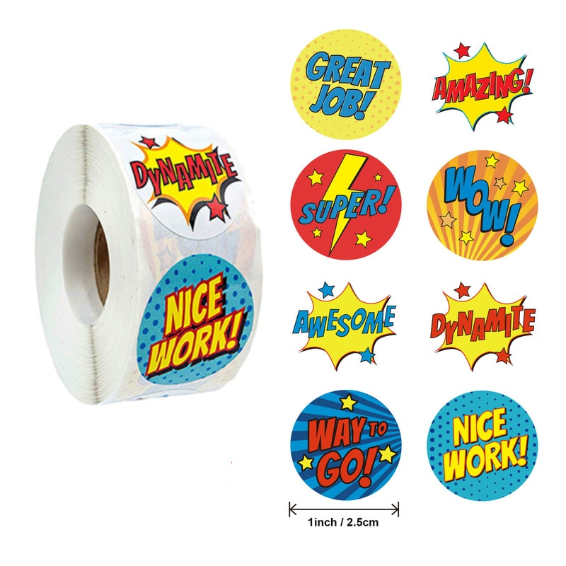 500PCS2.5CM elephant, cat cartoon sticker, text reward children sticker, gift box decoration sticker