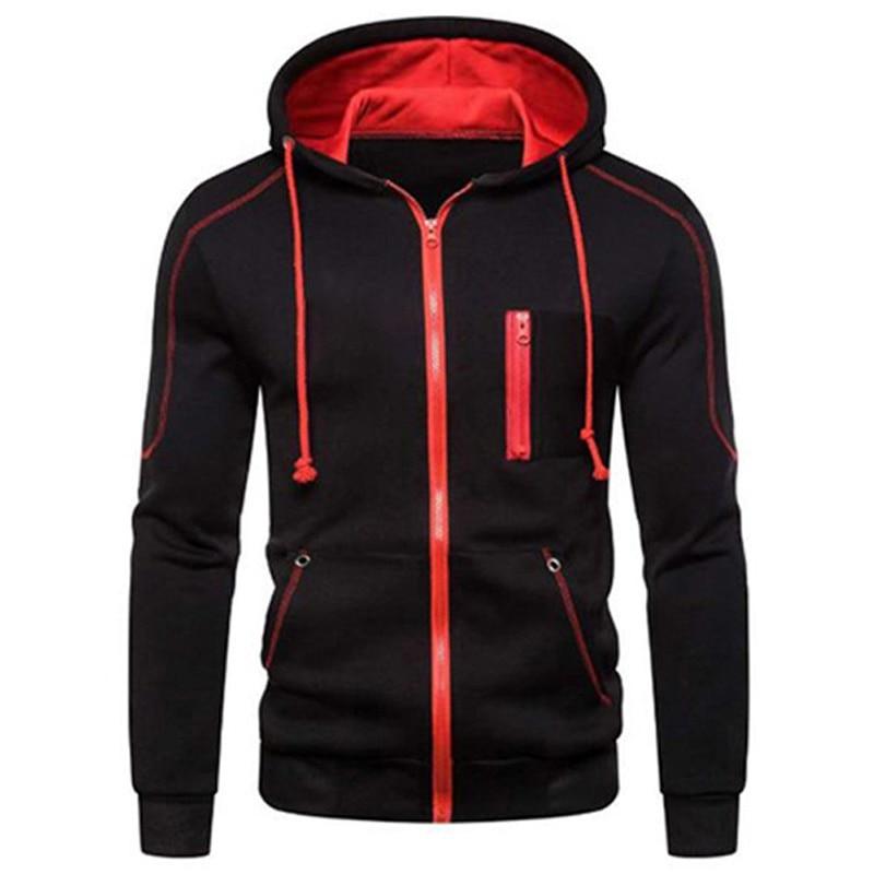 Куртка мужская с капюшоном, Повседневная модная кофта на молнии, свитшот, верхняя одежда, повседневные худи, весна-осень