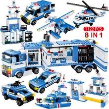 1122 pièces 8IN1 SWAT ville Police camion voiture blocs de construction compatibles ville poste de Police briques jouets pour garçons enfants