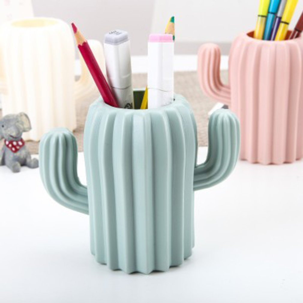 Multifunction Desk Cup Organizer Cactus Shaped Magnetic Pen Holder Pencil Pot Home Office Desk Stationery Storage Box
