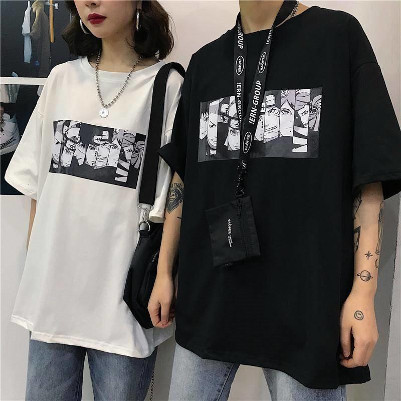 Camiseta de manga corta Unisex fresca de Harajuku de verano de Naruto, camiseta de Anime japonés con estampado divertido, camiseta de talla grande