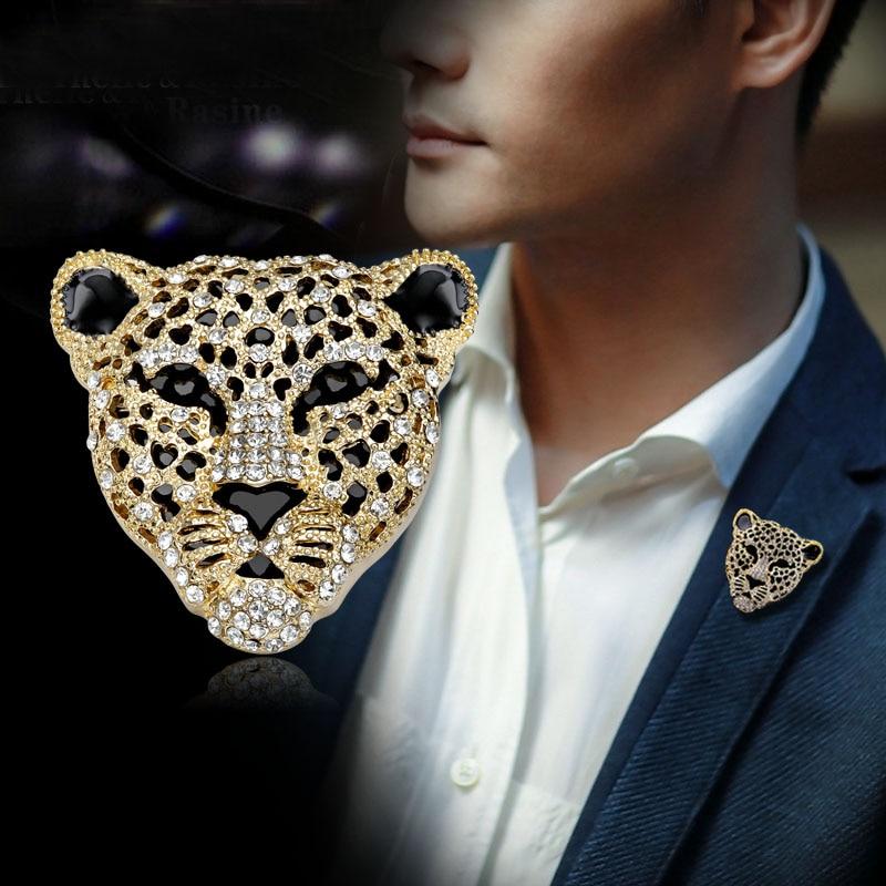 Novo design charme strass retro oco cabeça de leopardo broches para o homem moda jóias de luxo masculino ornamentos
