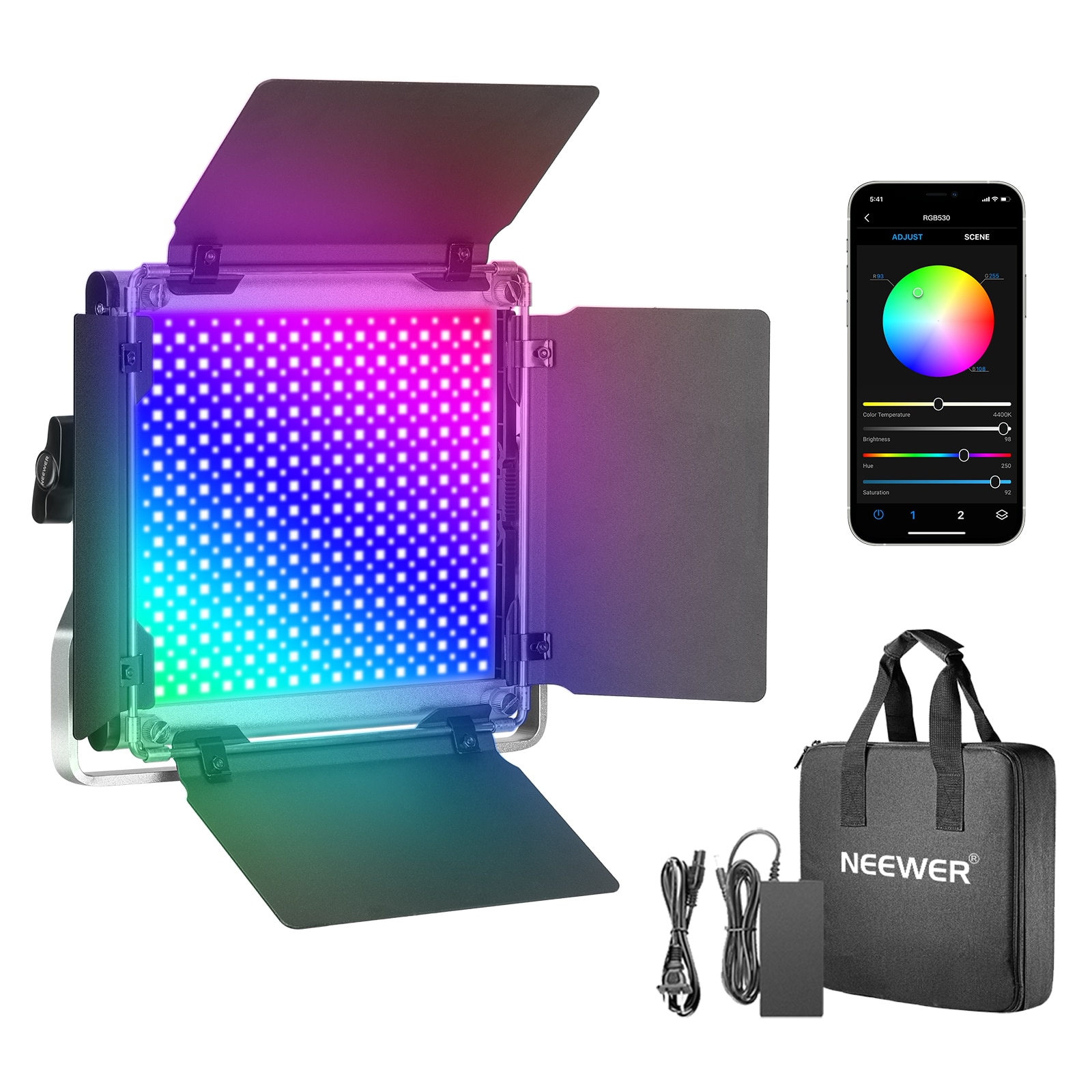 Neewer 530 RGB Led Light with APP Control, 528 SMD LEDs CRI95/3200K-5600K/Brightness 0-100%/0-360 Adjustable Colors/9 Applicable