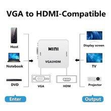 MEUYAG 1080P VGA to HDMI-compatible Audio Adapter Connector Mini VGA2HDMI Converter with Audio for P