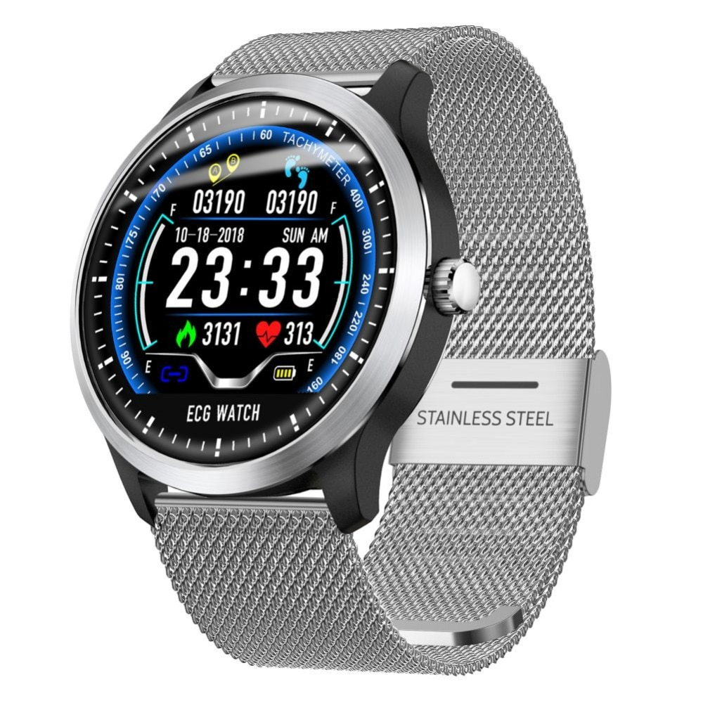 Adultos N58 reloj inteligente con electrocardiograma (ecg) Pantalla Holter Monitor de frecuencia cardíaca ecg Smartwatch de presión arterial ECG PPG