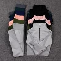 women 2pcs yoga set seamless gym clothing fitness suit female running workout zipper long sleeve crop leggings set