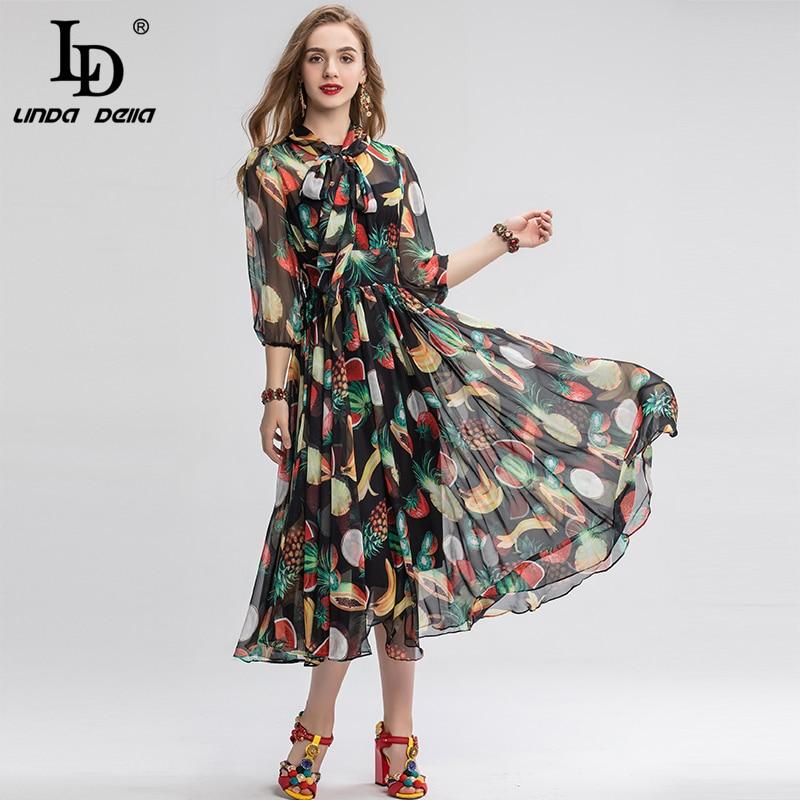 LD LINDA DELLA Spring Fashion Runway Vintage Dress Women's Bow Collar Multicolor fruit Print Chiffon Holiday Party Long Dress