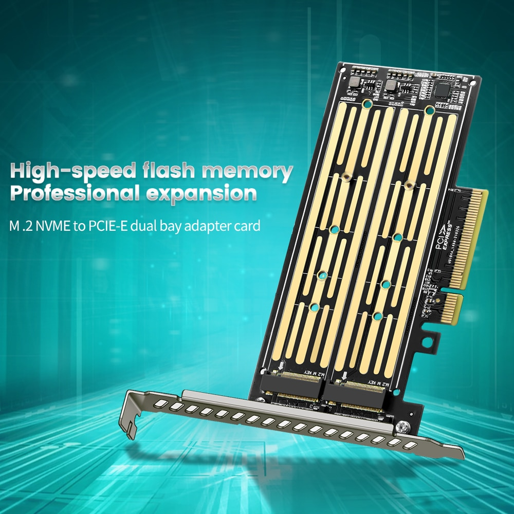 pci e to m 2 nvme ngff riser card m key b key hard disk drive adapter desktop hdd expansion card for mac linux windows M.2 Nvme&Nvme To PCIE Riser X8/X16 Adapter Card Hard Drive Dual-Disk Interface Gen3 32Gbps Expansion for 2230/2242/2260/2280 SSD