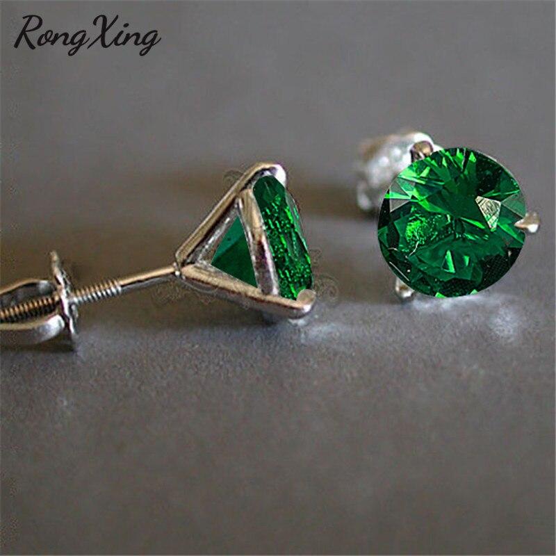 Rongxing charme verde zircon clássico espiral brincos para mulher cor prata pode birthstone 3 garra brincos boho jóias