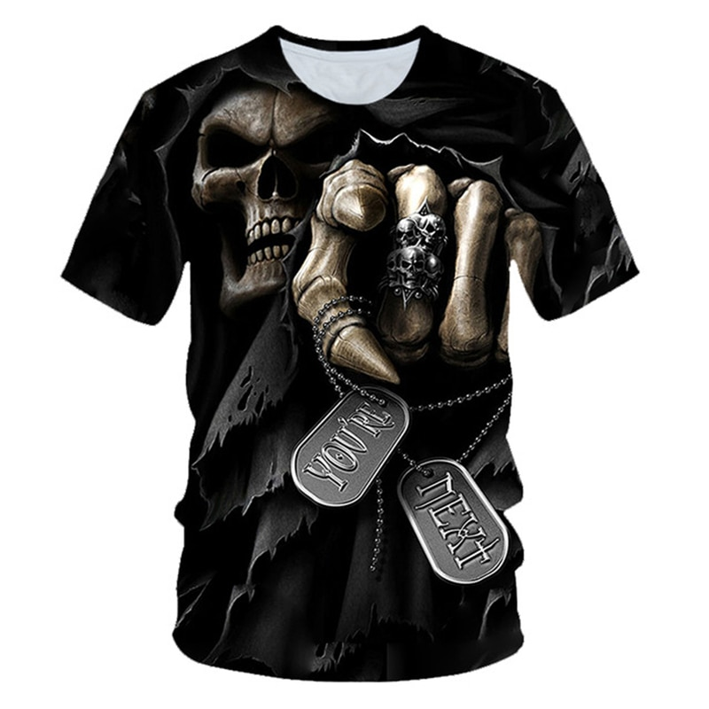 3D Punk Stil Schädel Gedruckt T hemd Männlichen 3D Harajuku T-shirt Streetwear Motorrad Schädel Druck T-shirt Hip Hop Sommer Kleidung