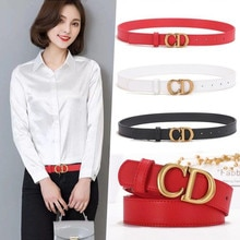 Women's Belt Luxury Golden Metal Buckle Belts High Quality Designer Fashion Ladies Genuine Leather B