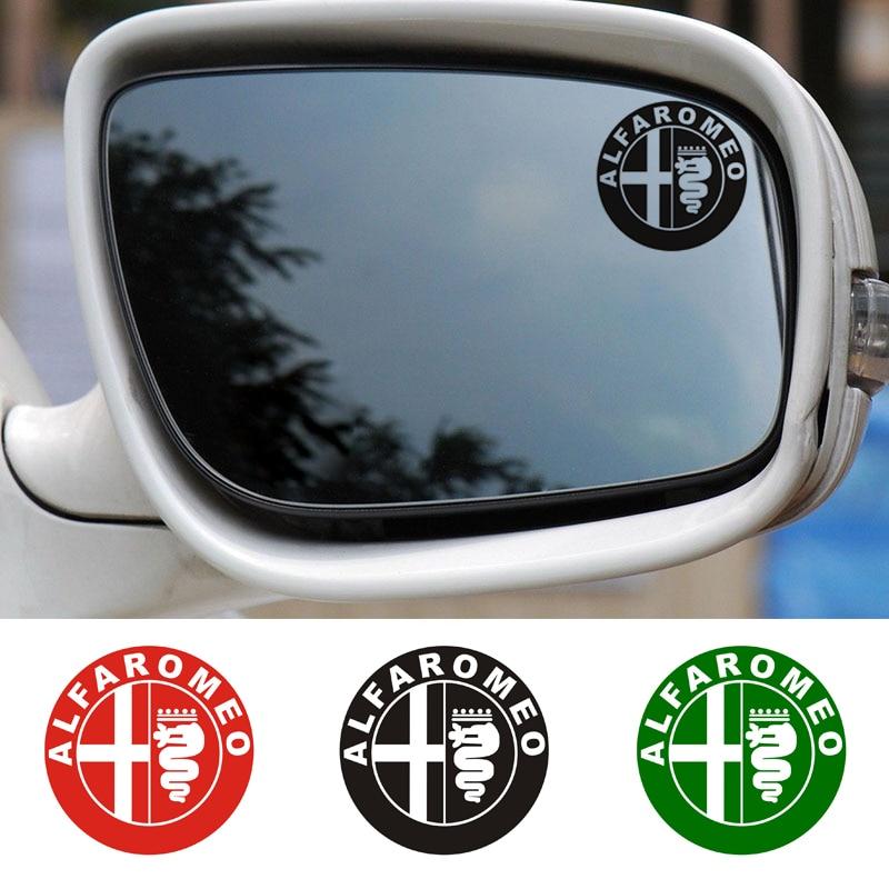 Etiqueta engomada del espejo del ala del coche del efecto de cristal de la insignia de 2 uds. Alfa Romeo Juliana Giulietta 159 156 MITO Stelvio 147 GT