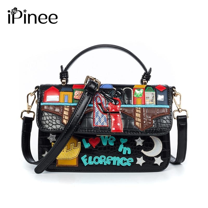 IPinee-حقيبة يد نسائية مطرزة ، حقيبة كتف جلدية براءات الاختراع ، حقيبة كتف غير رسمية كرتونية