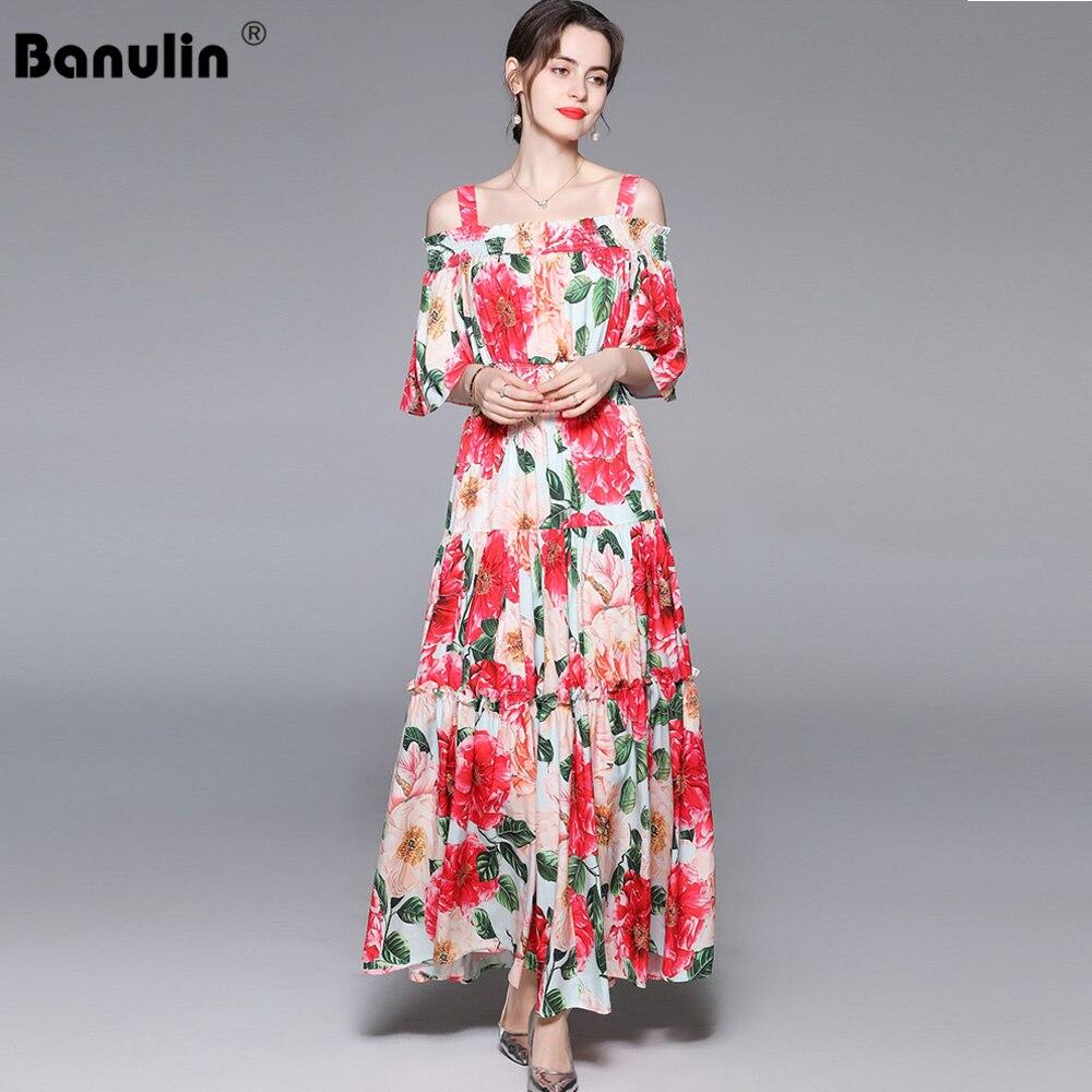 Banulin 2021 الصيف مصمم فستان طويل أنيق المرأة قبالة الكتف مرونة الخصر الأزهار طباعة بوهو عطلة حفلة فستان طويل